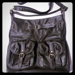 Maurice's Large Black Faux Leather Crossbody Bag